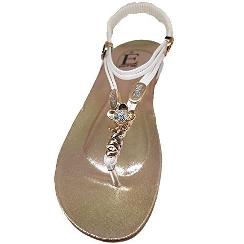 Sapphire Boutique by Sapphire Zafiro Boutique opio Mujer Diamante De Imitación Plano Tanga de Dedo Tira Trasera Plantilla Acolchada Sandalias Blanco