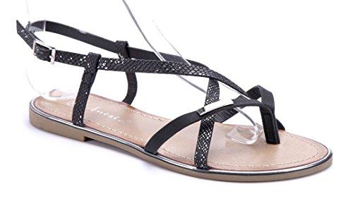 Schuhtempel24 Damen Schuhe Zehentrenner Sandalen Sandaletten Flach Schwarz 6a52e86fa9