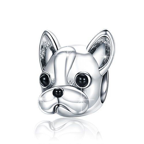 BAMOER 925 Sterling Silver Dog Charm Cute Puppy Charm Beads Animal Charm Fit Bracelet Necklace by BAMOER
