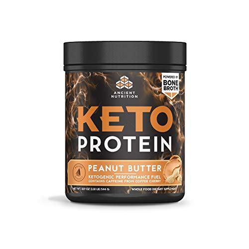 Ancient Nutrition KetoPROTEIN Beef Powder Peanut Butter Flavor, 17 Servings, Keto Diet Supplement, High Quality Low Carb Proteins and Fats from Bone Broth and MCT Oil (Best High Quality Protein Powder)