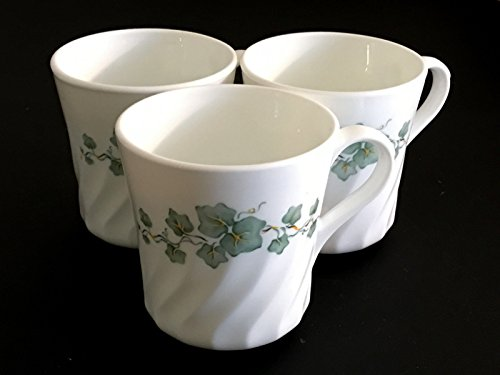 Corning Corelle Callaway Ivy 3 Count Cups Green Swirl Coffee Tea Mugs