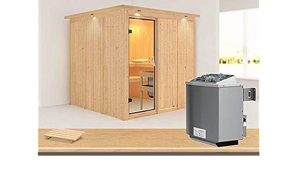 Sauna Karibu de Rodin con marco superior, incluye estufa de 9 kW: Amazon.es: Bricolaje y herramientas