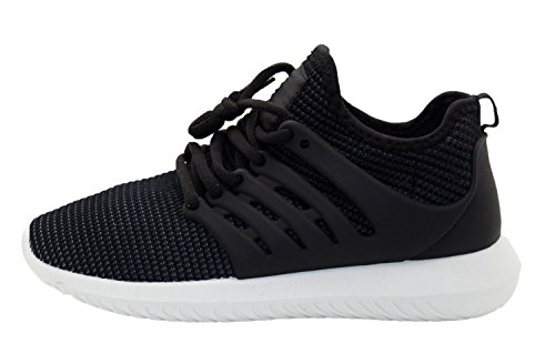 Ladies Mesh Breathable Trainers Boys Sneakers Sports Shoe Black-White uZtsDtKe