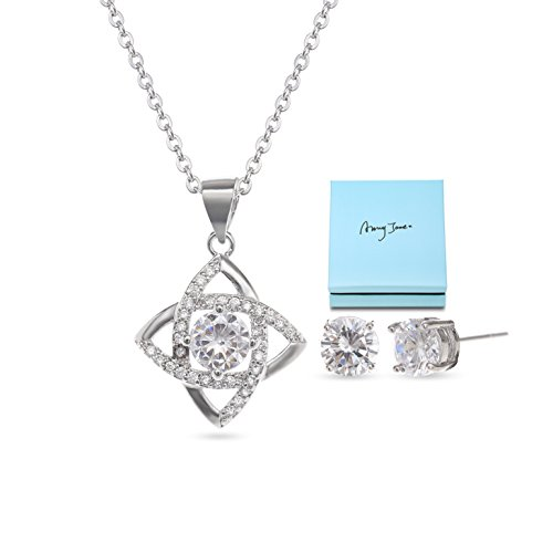 AMYJANE Wedding Jewelry Set for Women - Bridesmaids Jewelry Gift Set Sterling Silver Crystal Cubic Zirconia Love Knot Necklace Stud Earrings Elegant CZ Jewelry Set for Wedding Bride (0.25' Lead)