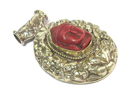 1 Pendant - Large Tibetan Antiqued Silver Color red Buddha Pendant with Lotus Flower Carving - PM336P