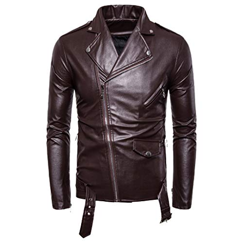 kitt 2019 New Men's Jacket Stand Collar Long Sleeve Autumn Winter Retro Artificial Leather Pure Coat (Brown, XL)