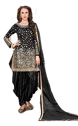 Kameez Dress Silk Salwar - Indian Pakistani Panjabi Salwar Patiyala Salwar Kameez Fashion Beautiful Formal Suit (Black, XS(Chest-36)(waist-32)(hips-38))