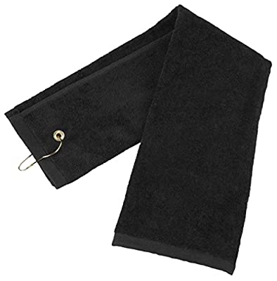 Flammi Tri-Fold Pure Cotton Golf Sports Towel with Grommet Include Metal Clip (Black)