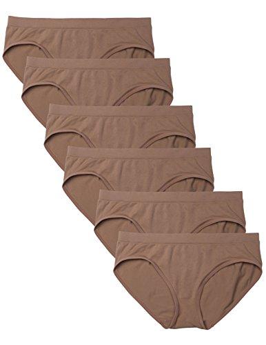 Kalon 6 Pack Women's Hipster Brief Nylon Spandex Underwear (Small, 6PK Dark Beige)