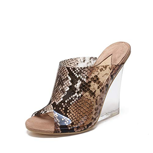 MACKIN J 405-8 Women's TPU Lucite Clear Wedge Heel Open Toe Platform Sandal Slip On Mule Dress Shoe with Snake Painting Color (6.5, Taupe)