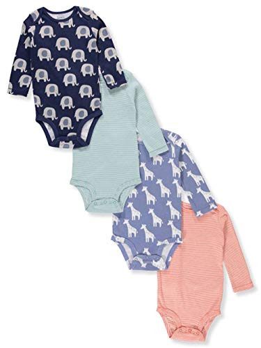 Carter's Baby Boys' 4-Pack Long-Sleeve Original Bodysuits (Ele/Giraffe/Stripes, 18 Months) ()