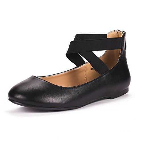 DREAM PAIRS Women's Sole_Stretchy Black/PU Fashion Elastic Ankle Straps Flats Shoes Size 7 M US -