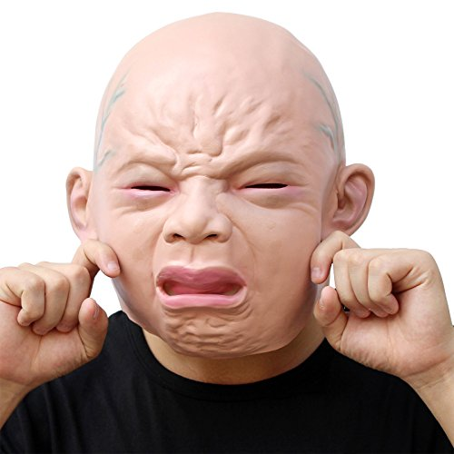 Big Baby Adult Unisex Costumes (CreepyParty Novelty Halloween Costume Party Latex Head Mask Baby Face (Cry Baby))
