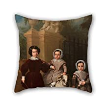 Oil Painting Antonio M? Esquivel - Children Playing With A Ram Pillowcover 16 X 16 Inches / 40 By 40 Cm For Girls Office Teens Boys Sofa Dinning Room Him With Each Side