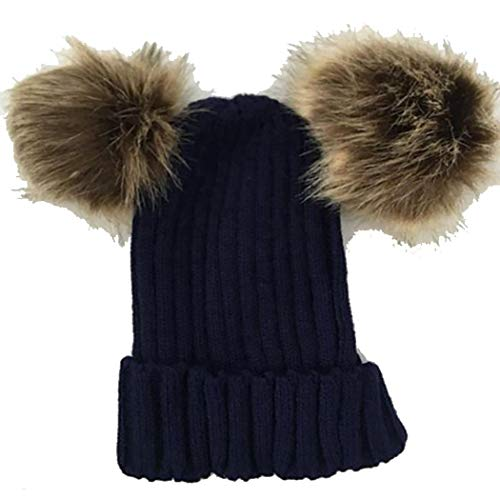 isopeen Parent-Child Beanie Casual Adults Children Winter Warm Cute Knit Pom Pom Beanie Hats Hats & Caps Navy Blue