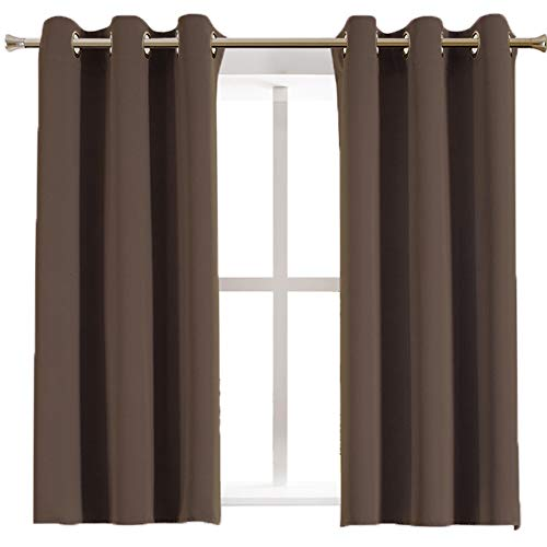 Aquazolax Blackout Curtains Window Drapes Luxurious Solid Thermal Insulated Grommet Blackout Curtain Panels for Nursery, 1 Pair, 42
