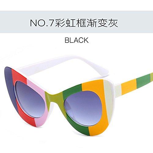 Redonda gradient Rainbow De Gafas Gafas Sol De Rainbow De Sol frame Gafas Vanguardia Sol Cara Gafas JUNHONGZHANG Simples De Murciélago ash Frame Gradient De Ash Creativas De q45wAg6U