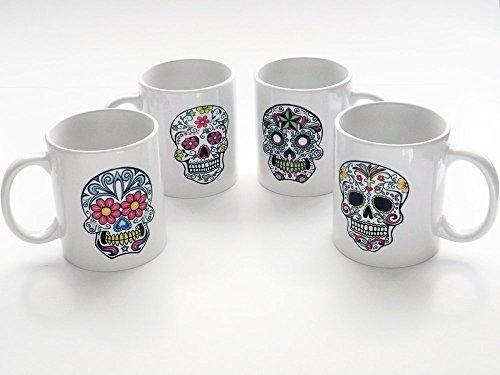 Sugar Skull 11 oz. Coffee Mugs set of four Day of the Dead Dia de los Muertos Halloween home -