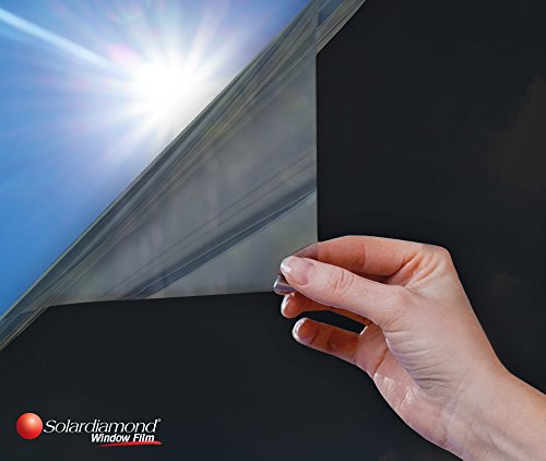 Window Film Privacy One Way Heat Control Sun Blocking Insulation Film UV Protection Decorative Residential Window Tint Roll For Glass For Home Office & Car | Reflective Dark Black Titanium - No Slash Glasses