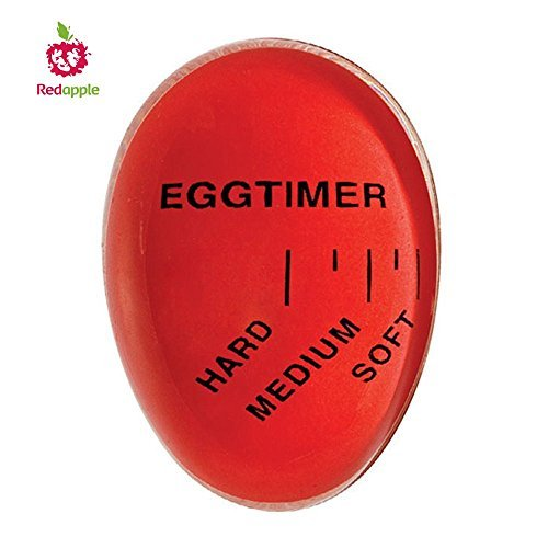 Norpro Egg Timer - Red Apple Heat Sensitive Hard & Soft Boiled Egg Timer Color Changing Indicator Tells When Eggs Are Ready – Watch Color Change For SOFT MEDIUM Or HARD BOILED – Super-Reliable Kitchen Tool -Gift
