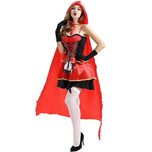 LOKODO Women's Little Red Riding Hood Costume Sexy Cloak Dress Suit Cosplay Halloween Clothes Spanish Pirate Adult Red 2XL