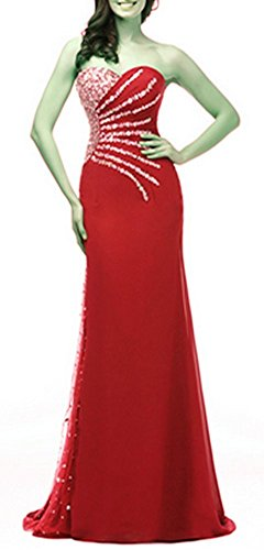 Brautjungfer Party Langes emmani Rot Trägerloses Kleid Kleid Homecoming Chiffon Kleid Damen Kleid wxqzS4XZ