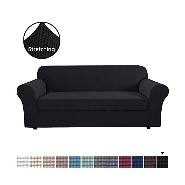 H.VERSAILTEX 2-Piece Stretch Stylish Sofa Slipcover Jacquard Fabric Small Checks Furniture Protector Sofa Cover Couch Cover with Elastic Bottom