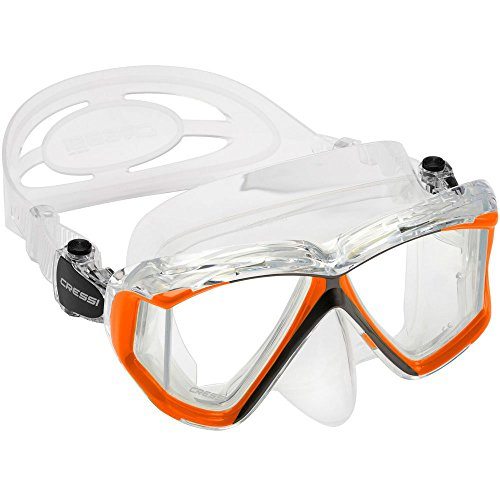 Cressi Panoramic 4 Windows Scuba Dive Mask, with Side View (Clear Orange)