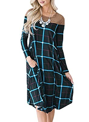 HOTEPEI Women's Casual Plaid Swing Long Sleeve Pockets T-Shirt Loose Dress