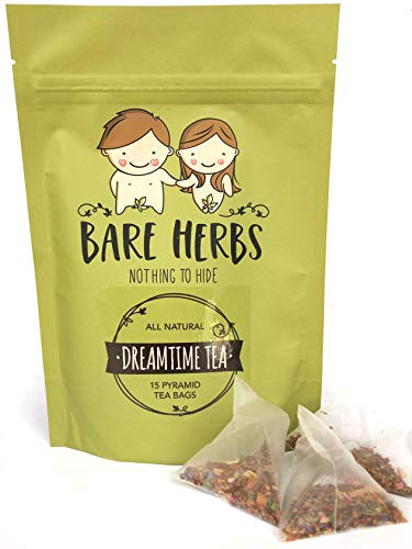Bare Herbs Dreamtime Tea for Better Sleep and Herbal Stress and Anxiety Relief | with Rose, Chamomile, Lavender, Rooibos, Mint and Lily (15 Pyramid Teabags)