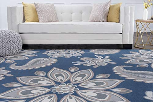 Tayse Matilda Navy 9×13 Rectangle Area Rug for Living, Bedroom, or Dining Room – Transitional, Floral