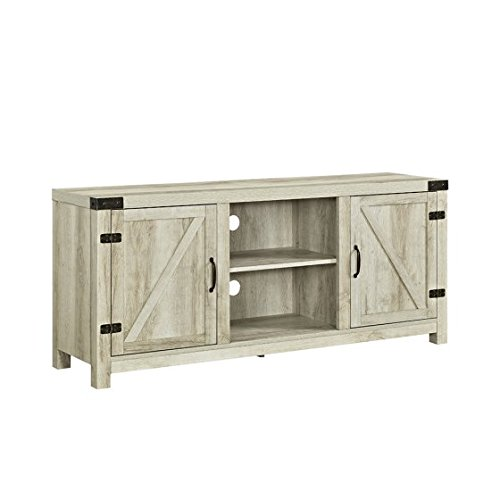 New 58 Inch Door Television Stand with Side Doors in White Oak Finish