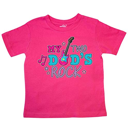(inktastic - My Two Dads Rock with Guitar Toddler T-Shirt 5/6T Hot Pink 35d58)