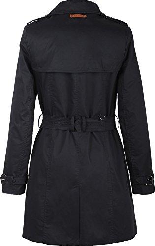 Noir Manches Femme Longues Trench Manteau Uni Grimada wgxqYpvtg