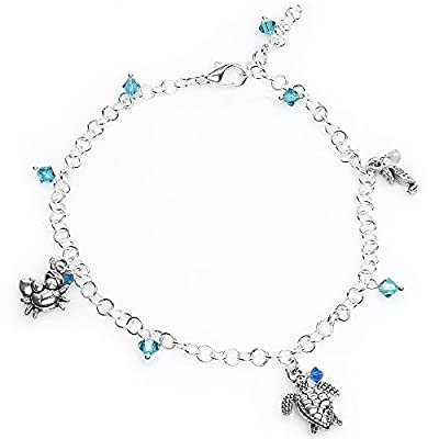 """hot Body Candy Sterling Silver Ocean Creatures Ankle Bracelet Created with Swarovski Crystals 9 1/2"""" get discount"""