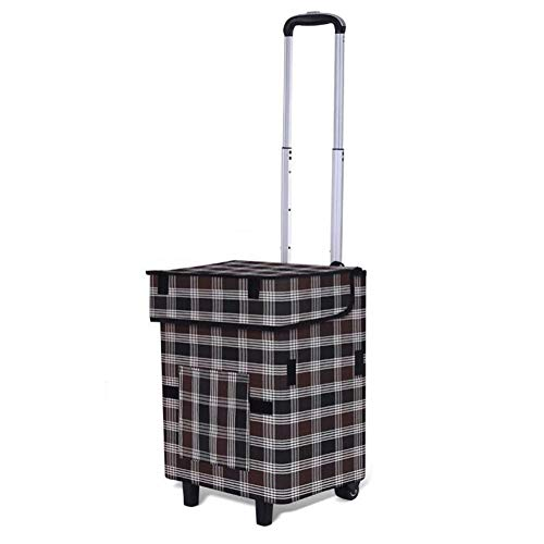 AQWWHY Shopping Trolley Foldable Shopping Cart Floral Design with Waterproof Oxford Cloth 41L Large Capacity Multifunctional Luggage Cart with Wheels Detachable Backpack