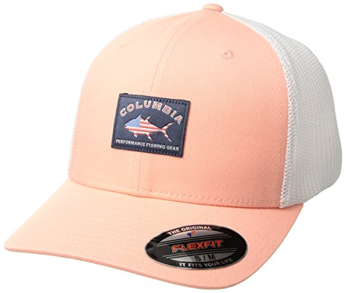 (Columbia PFG Mesh Ball Cap, Salmon/White Salmon Patch,)