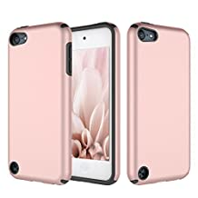iPod Touch 5 Case, iPod Touch 6 Case, KZONO Heavy Duty High Impact Armor Case Cover 2in1 Soft Shell Protective Case for Apple iPod touch 5 6th Generation -RoseGold+Grey