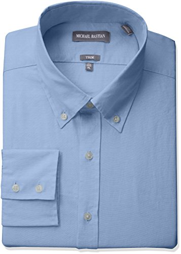 "Michael Bastian Men's Slim Fit Solid Oxford with Button Down Collar, Blue 16"" Neck 34""-35"" Sleeve from Michael Bastian"
