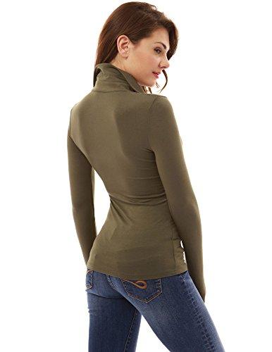 V camicia scollo Verde polo lunga PattyBoutik Oliva a con di manica Donne Rfz5WBwqA