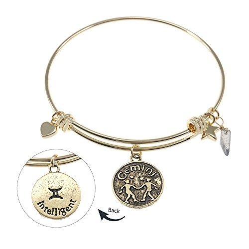 Gemini Zodiac Gemstone Astrology Constellation Horoscope Handmade Brass Bangle Bracelet Gold Jewelry BN611GBR-GEM (Handmade Gemstone Jewelry)