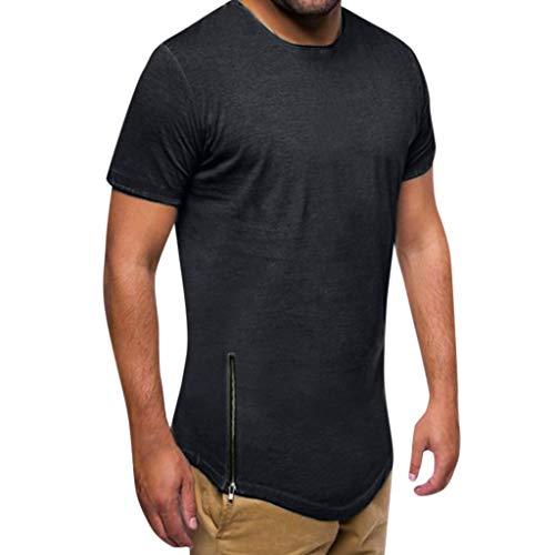 Kiasebu Mens Summer Lightweight Hipster Hip Hop Basic Longline Crewneck T-Shirt with Side Zipper Trim (Herren Hipster)