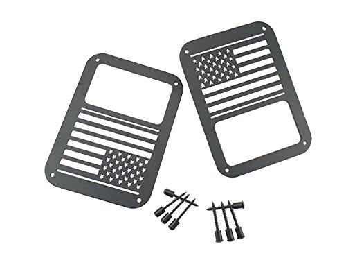Soosee Tail Light Guards Covers For Rear Taillights 2007-2016 Jeep Wrangler JK Unlimited Accessories (US Flag)