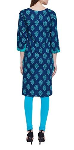 Robe en coton imprimé Ikat bleu foncé
