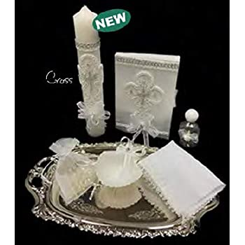 ... Cross Silver White Set for Girl, Boy, or Unisex : Candle, Bible, Dry Cloth, Sea Shell, Rosary and Holy Water Bottle Silver Tray–Bautizo Religious Gift