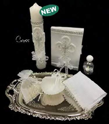 English Handmade Christening/Baptism Cross Silver White Set for Girl, Boy, or Unisex : Candle, Bible, Dry Cloth, Sea Shell, Rosary and Holy Water Bottle Silver Tray–Bautizo Religious Gift