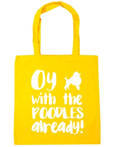 poodles litres the Tote with Oy HippoWarehouse already x38cm 42cm Beach Yellow 10 Shopping Bag Gym qt1wEOEax