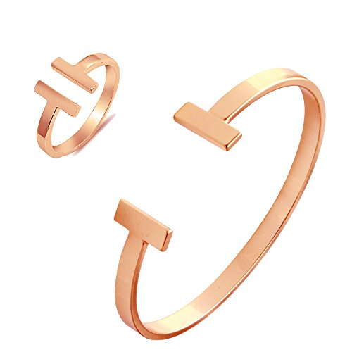 SENFAI Simple Double T Cuff Bracelet/Jewelry Set for Women (Bracelet + Ring, -