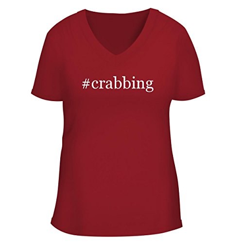 (#Crabbing - Cute Women's V Neck Graphic Tee, Red, Small)