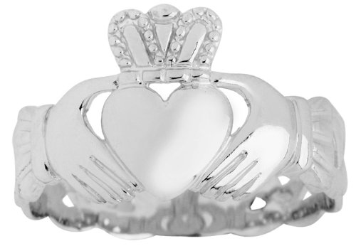 Men's Sterling Silver Trinity Band Claddagh Ring (8.75)